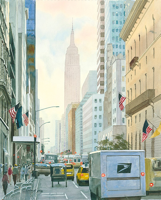 34th St Manhattan watercolour 16x 20