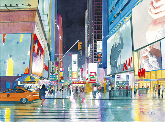 42nd St Manhattan Watercolour 22x 30