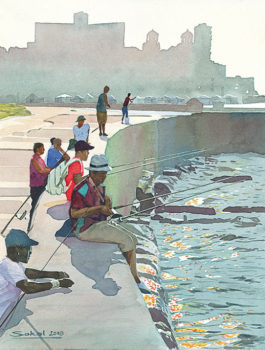 Fishing on the Malecon 12x16